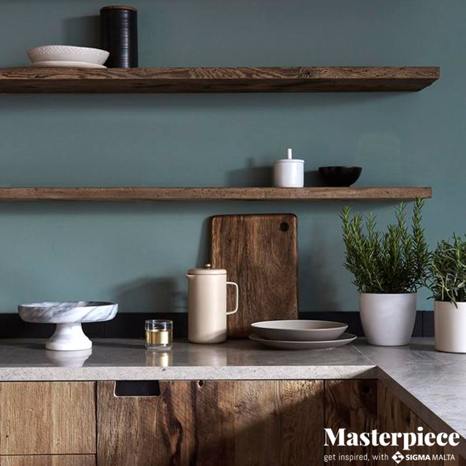 Muted teal</br><span>Wooden finishings