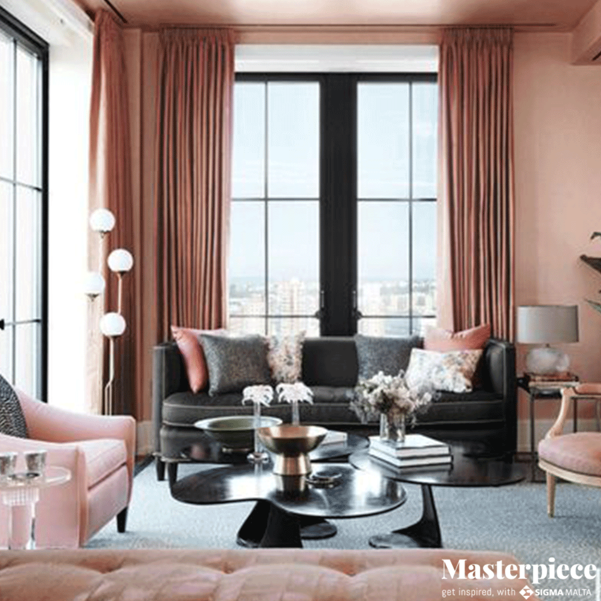 Dusty rose and charcoal grey make for a </br><span>great seasonal combination.</span>