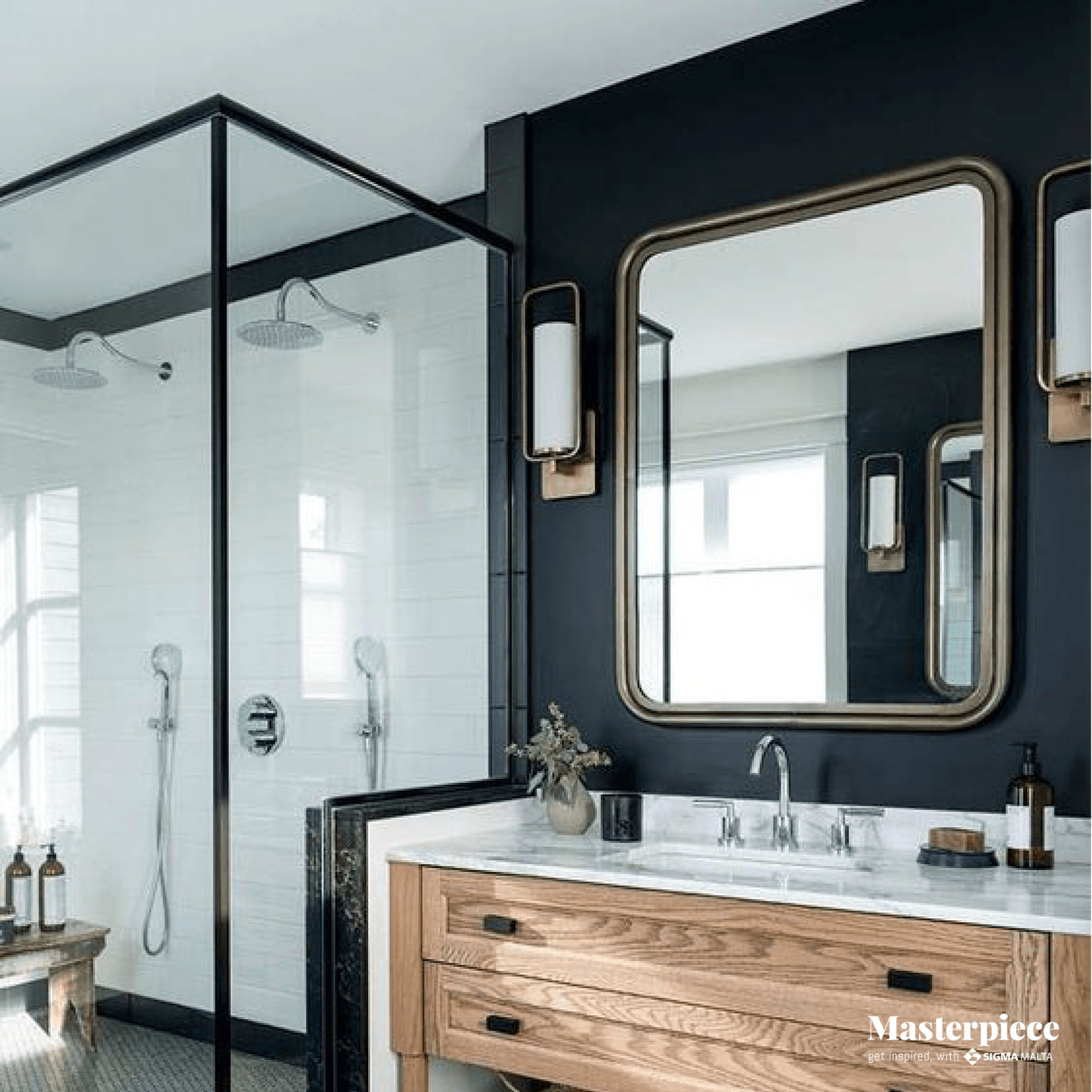 Black walls </br><span> for an edgy bathroom </span>